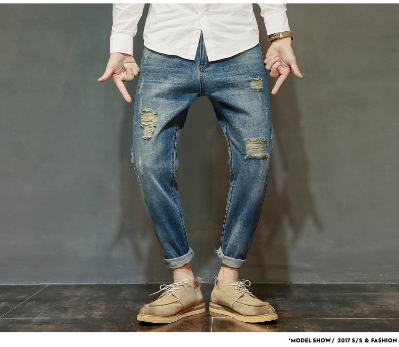 famous brand factory leather zipper jeans men deep blue slim straight pants masculina vaqueros trouse mid regular solid pencil 13