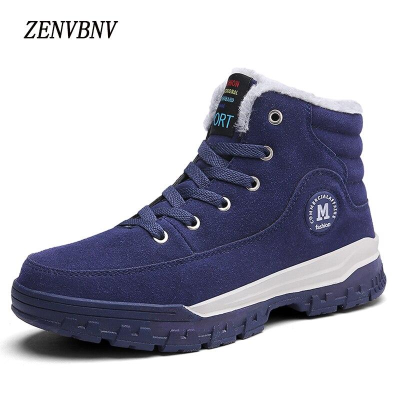 Zenvbnv Мужские ботинки Мужские зимние сапоги для мужчин Мех Кружево на шнуровке теплая Повседневная обувь для Для мужчин Мода 2017 г. из коровье…