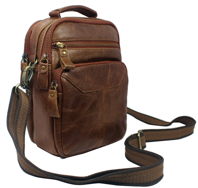 Fashion Crossbody Bag Genuine Leather Men Shoulder Messenger Male Leisure Small