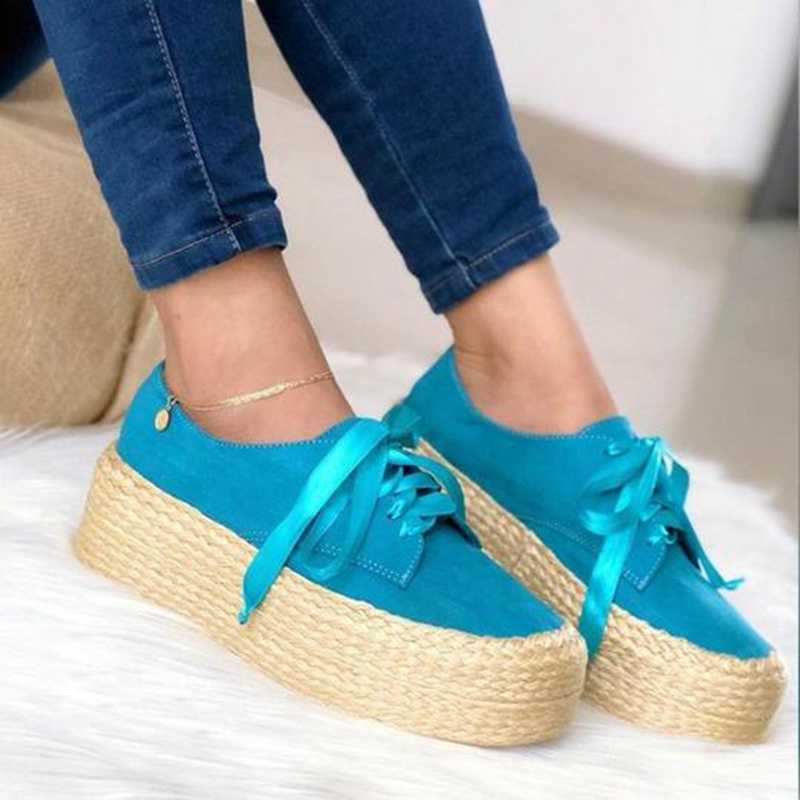 Women Canvas Loafers Fashion Ladies Espadrille Shoes Thick Bottom Flats Shoes Girls Lace Up Round Toe Casual Flats Footwear
