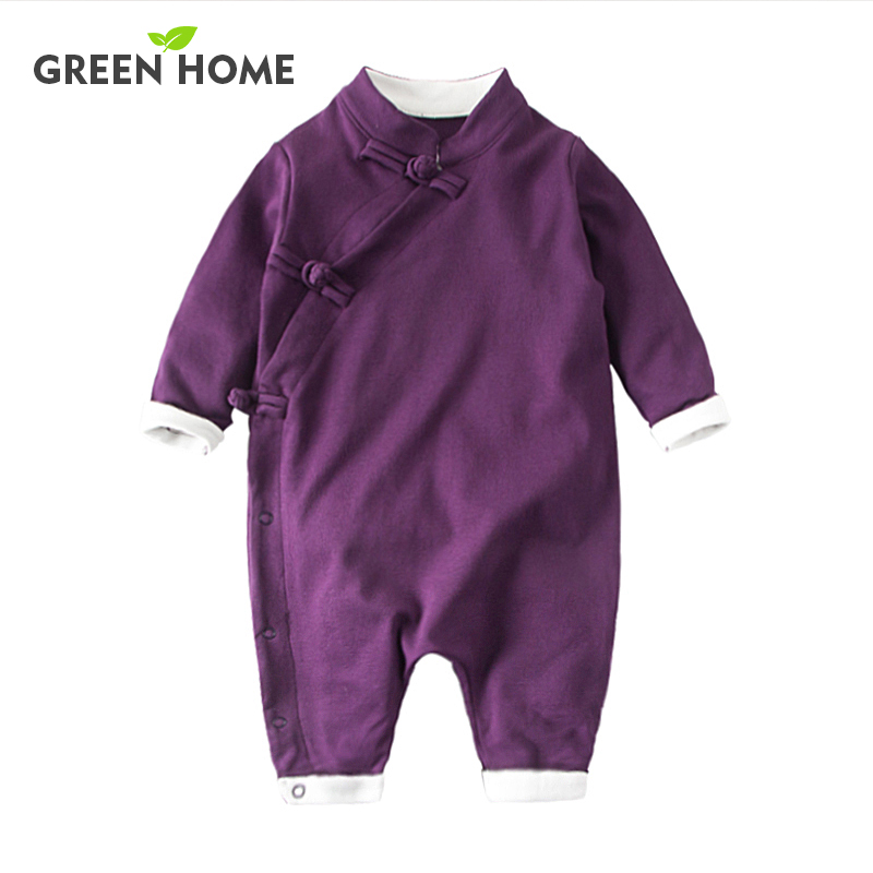 Chinese Retro Baby Rompers Ropa Bebe Cotton Newborn Babies Infant 0-24M  Baby Girls Boy Clothes Jumpsuit Romper Baby Clothing summer 2017 navy baby boys rompers infant sailor suit jumpsuit roupas meninos body ropa bebe romper newborn baby boy clothes