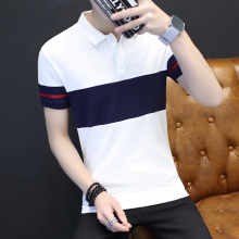 Summer men's big striped short-sleeved POLO shirt , Men large size leisure breathable polo shirts . White Blue 4XL 5XL
