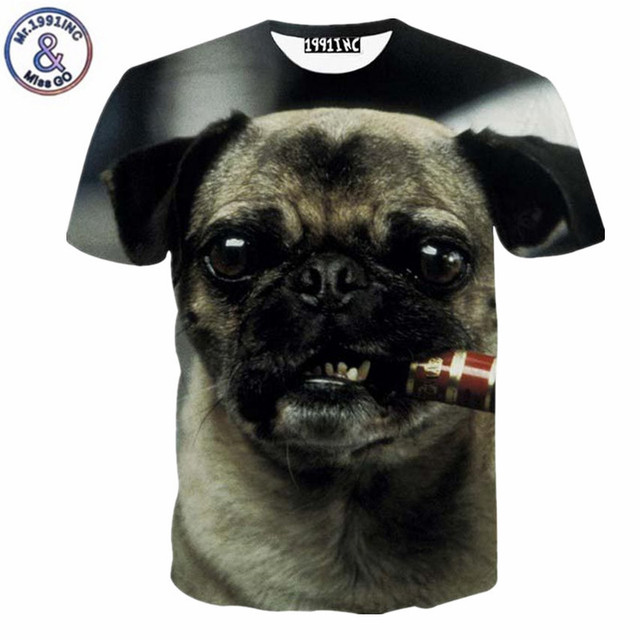 45f26042 Men pug T-shirt summer 3d tshirt funny print smoking dog cute animals  casual T shirt Cool Novelty tee shirts tops