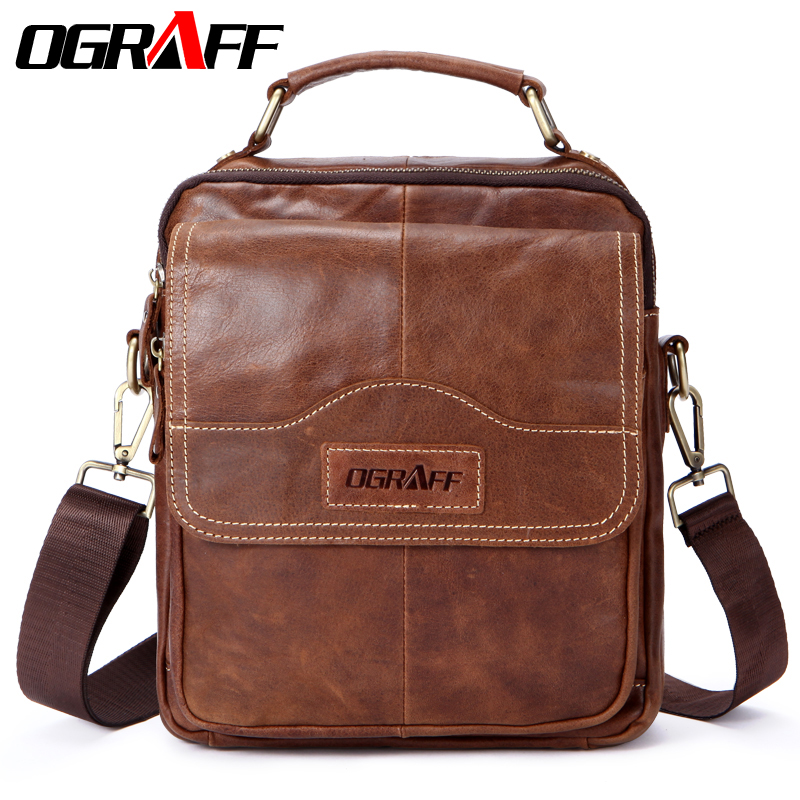 OGRAFF Genuine leather men bag men messenger bags small shoulder bags crossbody bag men's leather handbag men Briefcases travel hot 2017 genuine leather bags men high quality messenger bags small travel black crossbody shoulder bag for men li 1611