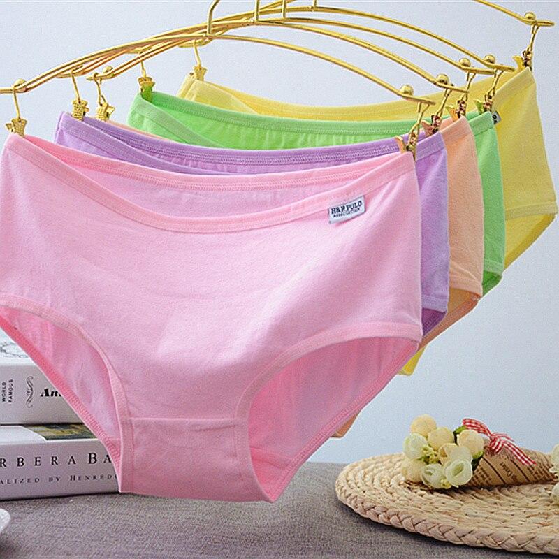 Hot 20pcs/lot Underwear Wholesale 2019 Women's Underwear Cotton Triangle Candy Color Panties For Girls Kids Short Briefs Hs02