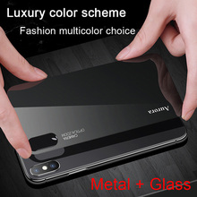 Tempered Gradient Glass Case for iPhone 7 8 Plus X XS Max XR Luxury Aluminum Metal Frame Slim Back Cover Coque