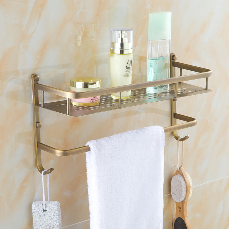 40cm Brass wall bathroom shelves, Square antique shelf single tier with towel rack, Retro cosmetic storage rack towel bar hooks factory outlet iron bathroom shelf storage rack shelves multilayer promotions