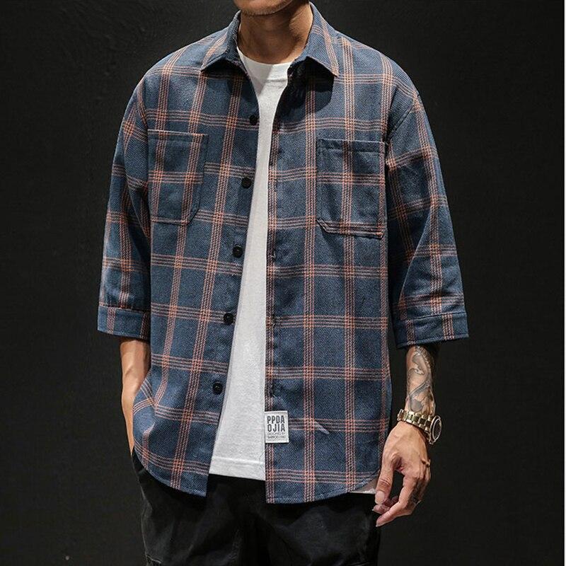 Casual Mens Three Quarter Shirt Japanese Streetwear Plaid Stripe Korean Shirt For Men Flannel Vintage Chemise Shirt Men Clothes