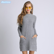Loose Knitted Sweater Dress Women Elegant Mini Knit Autumn Winter Dresses 2018 Spring Vintage Pullovers White White Sweaters