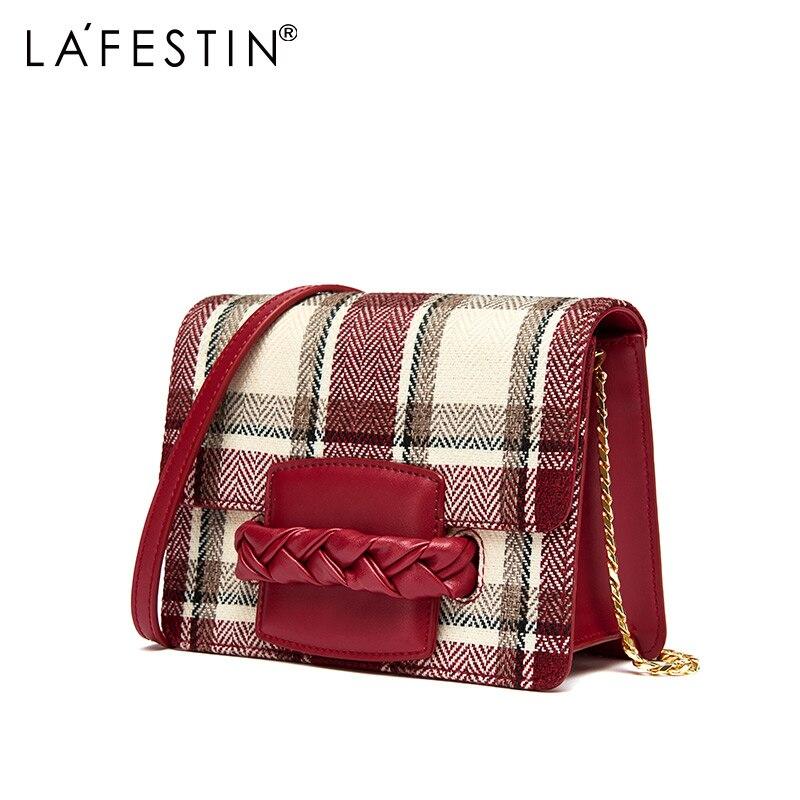 Bagaj ve Çantalar'ten Omuz Çantaları'de LA FESTIN kadın Çantası 2018 Yeni omuz çantaları postacı çantası Ekose kız çocuk çantası bolsa feminina'da  Grup 1
