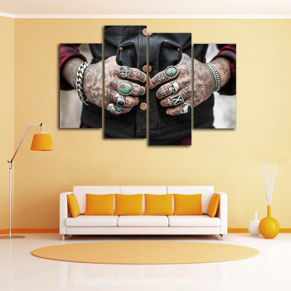 New 4 Pieces/sets Canvas Art 5 panels Man Tattoo HD Canvas Paintings ...