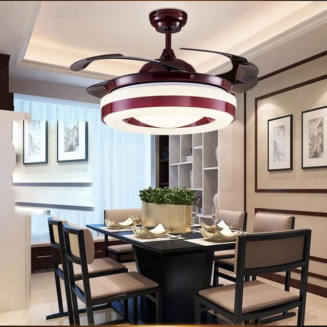 LED Nordique Fer Acrylique Rouge Ventilateur de Plafond Lampe LED LED Lumi¨re Plafonniers LED Plafonnier plafond Lampe Pour Foyer Chambre dans