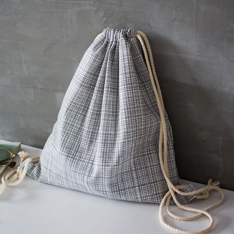YILE Cotton Linen Drawstring Travel Backpack Shoes Sorted Bag Student Book Bag Grey Geometry Check Grid 17414-2YILE Cotton Linen Drawstring Travel Backpack Shoes Sorted Bag Student Book Bag Grey Geometry Check Grid 17414-2