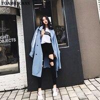 2017 Oversize Streetwear Brief Print Zakken Double Breasted Taille Riem Lange Vrouwen Geul feminine Casual Kraagvorm Jas