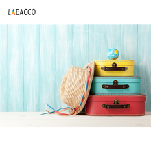 Laeacco Wooden Board Hat Globe Baby Colorful Suitcase Photography Backgrounds Photophone Photographic Backdrops For Photo Studio
