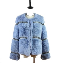 Harppihop Rex knitted Genuine Rabbit fur coat women fashion long rabbit jacket Outwear winter Free shipping
