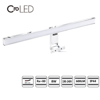 CroLED Wall Lamp 8W 600LM Waterproof Bathroom Fixtures makeup toilet bar Led light front mirror lighting IP44 Warm White