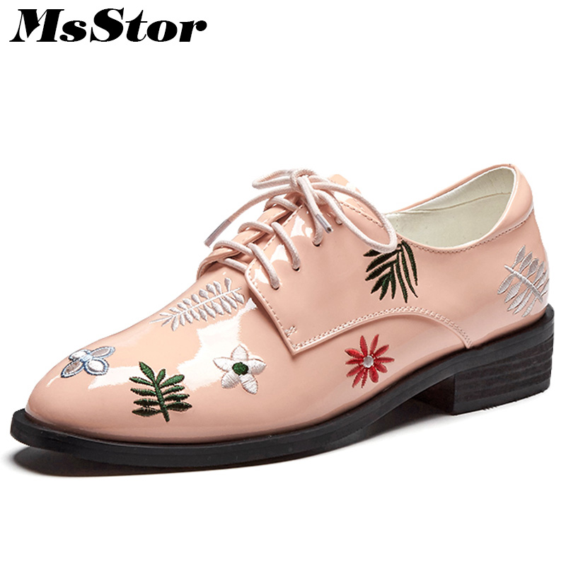 MsStor Round Toe Embroider Women Flats Casual Fashion Ladies Flat Shoes 2018 Spring Flower Cross tied Women Flat Brogue Shoes cresfimix women cute spring summer slip on flat shoes with pearl female casual street flats lady fashion pointed toe shoes