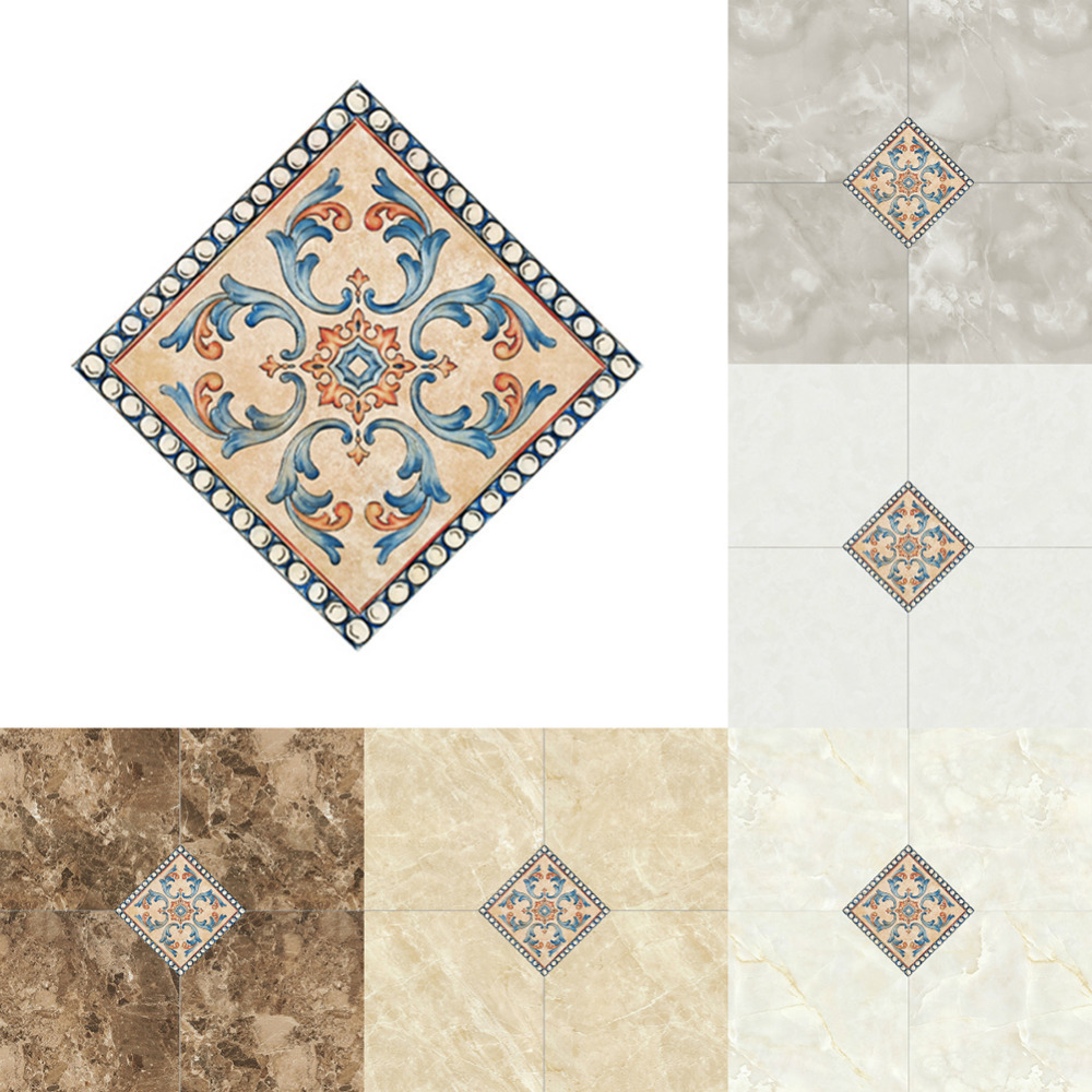10pcs/set Multi Color Porcelain Tile Stickers Bathroom Living Room Floor Decals Home Decoration Waterproof Ground Wallpaper