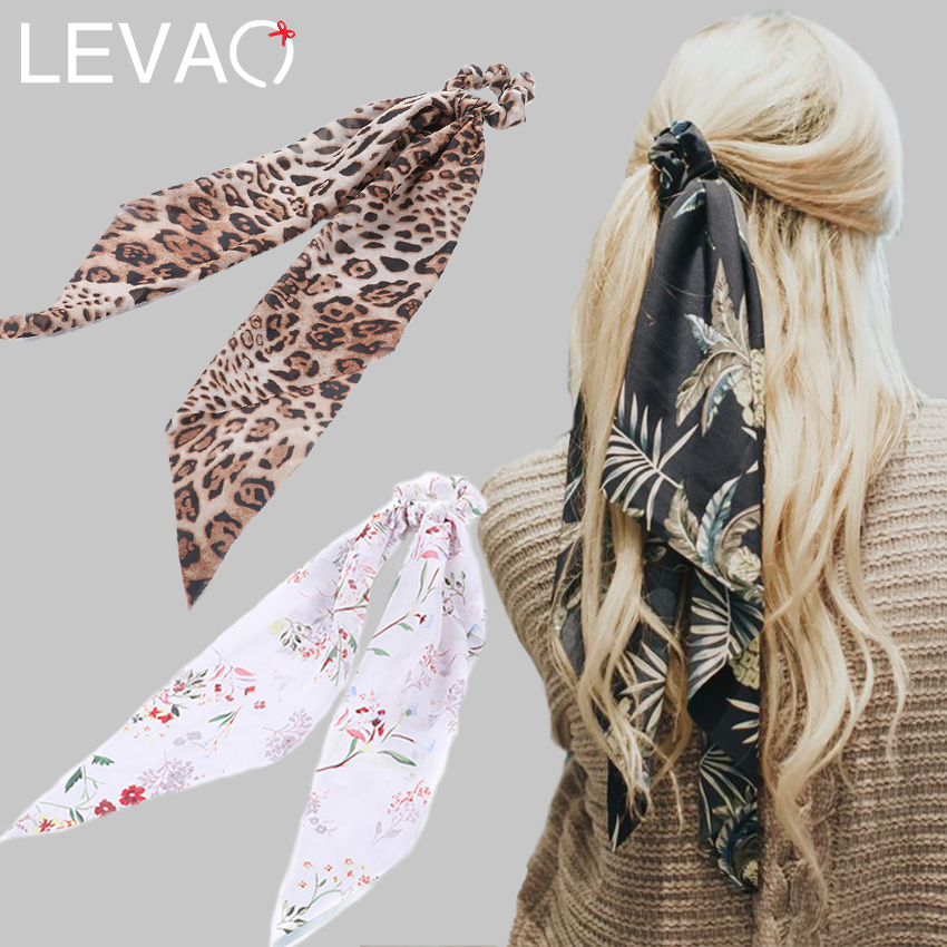 Levao Flower Print Hair Ribbon Scarf Hair Bands Bow Ties Scrunchies Ponytail Elastic Hairbands Rope For Women Hair Accessories