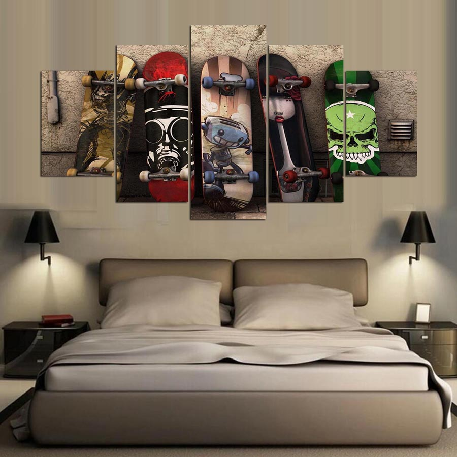 Graffiti wall art bedroom - 5 Panel Picture Graffiti Skateboard Posters Modern Canvas Art Painting Hd Printed Wall Art Bedroom Living