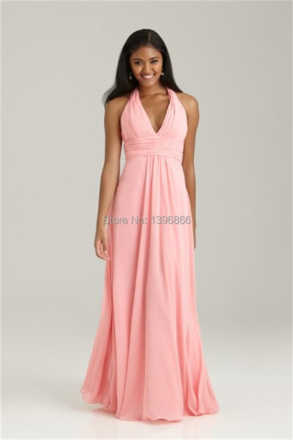 Pale Pink Halter Bridesmaid Dress For Wedding 2014 Elegant Long Dress Party  A Line Chiffon Vestido De Madrinha AB75 b0a91645eb85