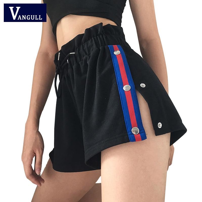 Vangull Side Split Shorts Women Side Striped Shorts 2019 New Fashion Elastic Waist Short Pants Casual Ruffle Tie Up Summer Short