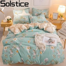 Solstice Fresh Rural Flower Style Comforter Bedding Sets Duvet Cover Bed Flat Sheet PillowCase Set Bedlining Kit Queen King Size