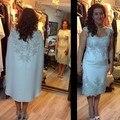 2016 Tea-Length Satin Frisada New Projetado Mãe Do Vintage Dos Vestidos de Noiva Ternos Com Jacket Formal Vestido de Noite