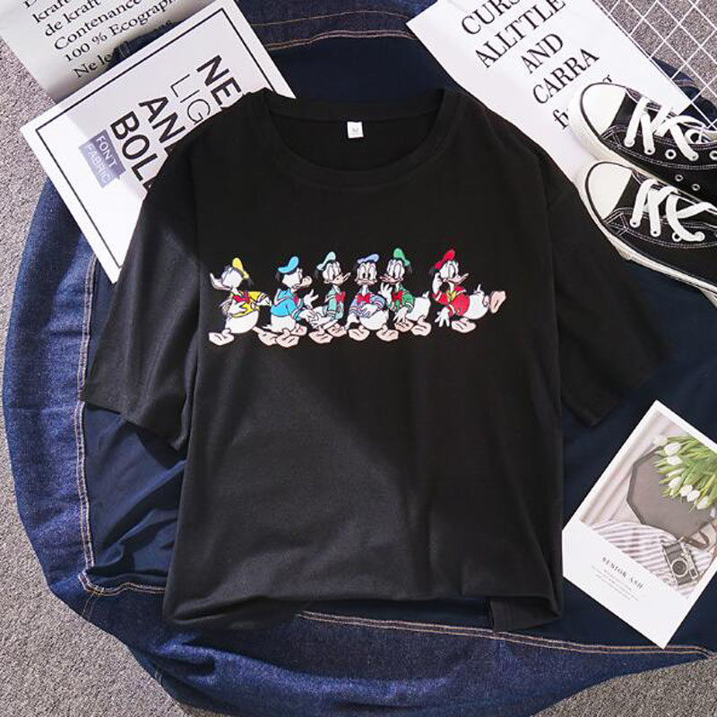 Cute Cartoon Duck Print Women T Shirt Spring Summer Short Sleeve O Neck Women Tops Tees Casual Loose Female T-shirt
