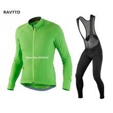 New Green Winter Thermal Fleece Ciclismo jersey y Del Babero conjuntos de Desgaste de La Bicicleta Ropa Moto de Manga Larga Para Hombre Ropa Ciclismo