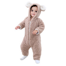The new model of the baby bear shake shape climbing suit with the new baby added fleece body suit(China)