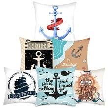 Fuwatacchi Anchor Throw PillowCase Cushion Cover Sea Blue Printed Pillow for Home Chair Decorative Rudder Pillowcases