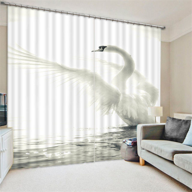 Incroyable White Swan 3D Blackout Window Curtains For Living Room Bedding Room Hotel/ Office Curtain Drapes