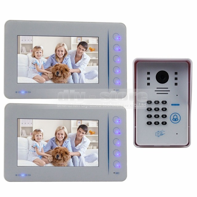 DIYSECUR Video Door Phone Door Bell Intercom System RFID Password Camera With Keypad 4CH CCTV Input 1 Camera 2 Monitor
