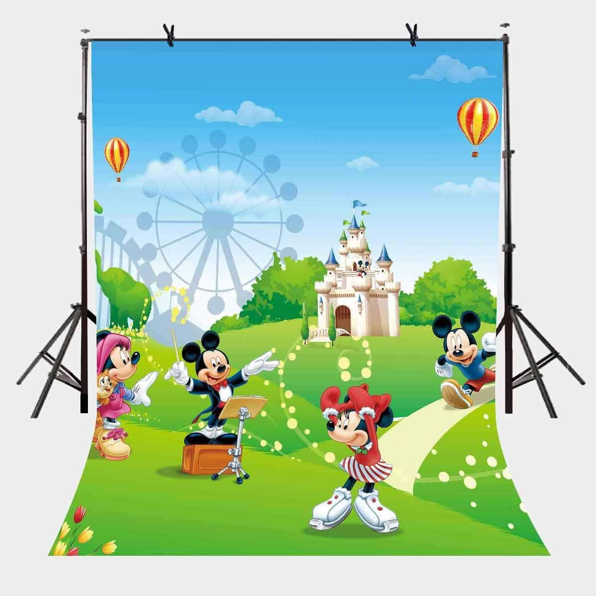 5x7ft Mickey Mouse Backdrop Classic Cartoon Character Photography Background and Studio Props