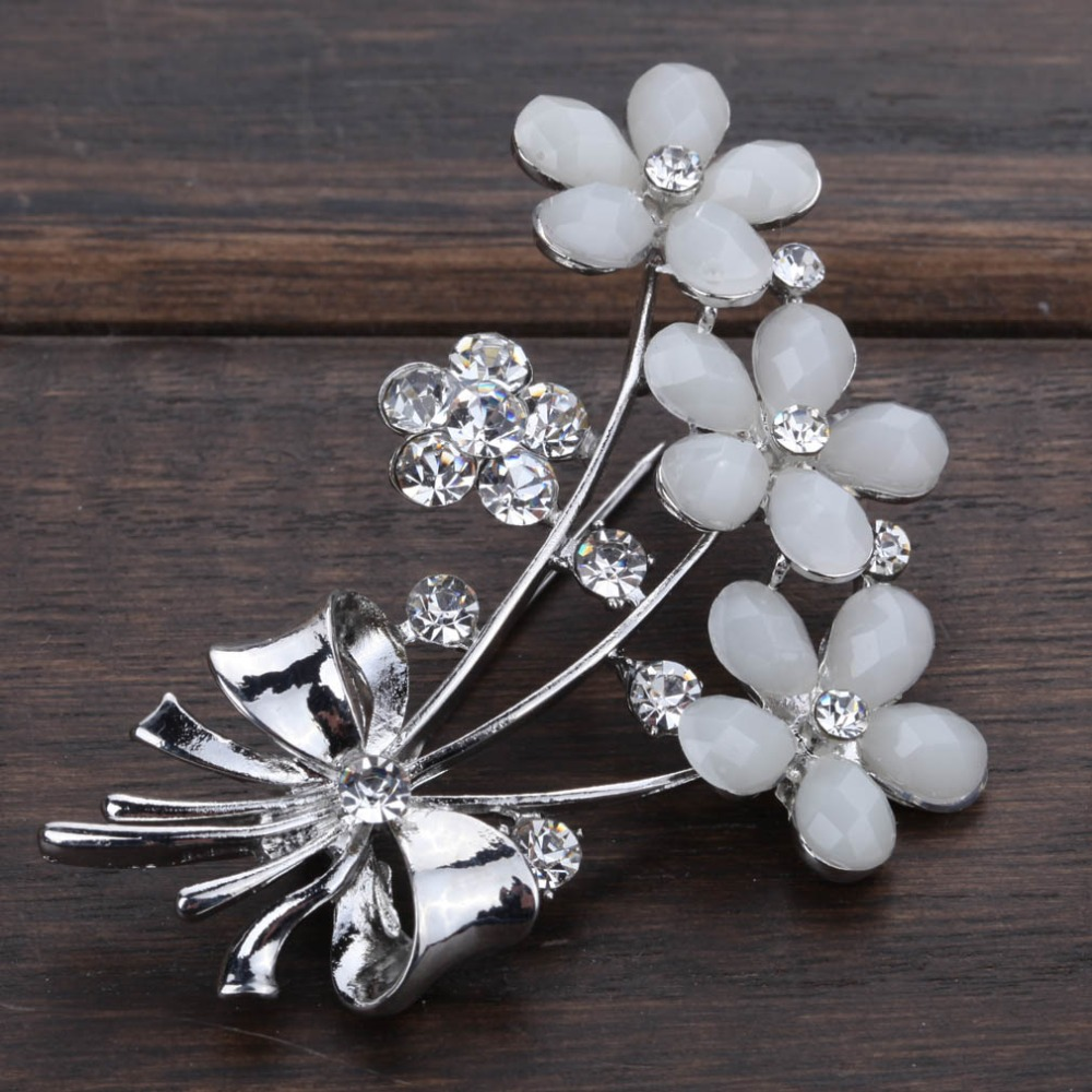 White pink flowers brooch pins with clear crystal rhinestones for white pink flowers brooch pins with clear crystal rhinestones for women bride or wedding bouquets in brooches from jewelry accessories on aliexpress izmirmasajfo Image collections