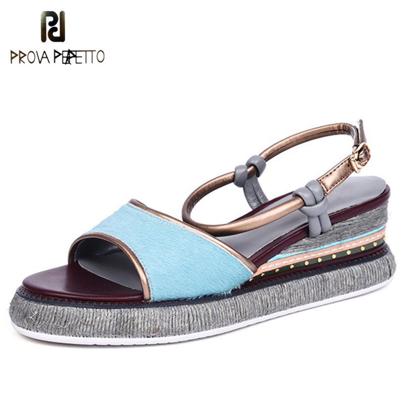 Prova Perfetto Summer New Real Horsehair Fur Gladiator Sandals Women Thick Bottom Platform Shoes Woman Peep