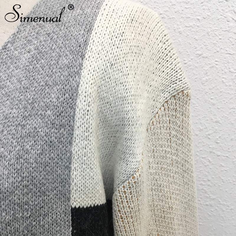 96fb0839bb3 US $31.15  Simenual Patchwork winter cardigan for women long coat fashion  khaki 2018 open stitch korean knitted cardigans sweaters ladies-in  Cardigans ...