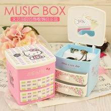 Sweet Floral Small Fresh Kitty Cat Double Layer Drawer Storage Jewelry Box Clockbox Music Box Birthday Gift