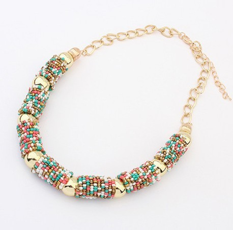 2014 Newest !!! European and American Bohemia Style Handmade Turquoise Colors Round Bead Resin Necklace Jewelry For Women 357