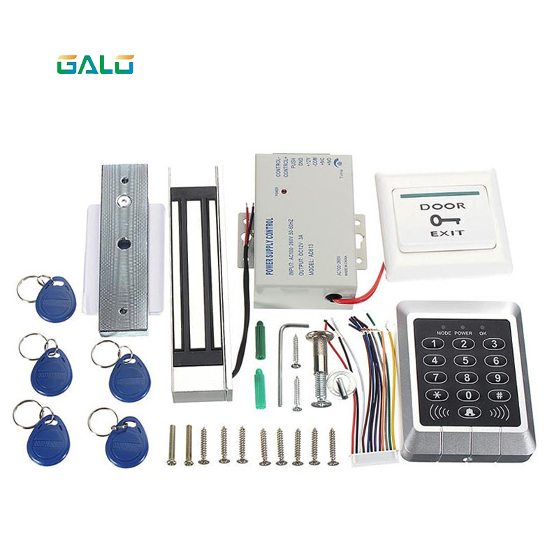GALO Security Metal case RFID keypad Access control electric magnetic lock kit for 280kg glass wooden door with 10 tags chip