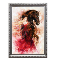 Needlework,Embroidery,DIY Portrait Painting,Cross stitch,14ct horse women fire pattern home Cross stitch,Sets For Embroidery 26
