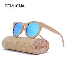 2017 New BEMUCNA High Quality Cat Eye Wood Sunglasses Women Oculos de sol Reflective Summer Pink polarization Sun Glasses