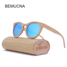 2017 New BEMUCNA High Quality Cat Eye Wood Sunglasses Women  Oculos de sol Reflective Summer Pink polarization Sun Glasses