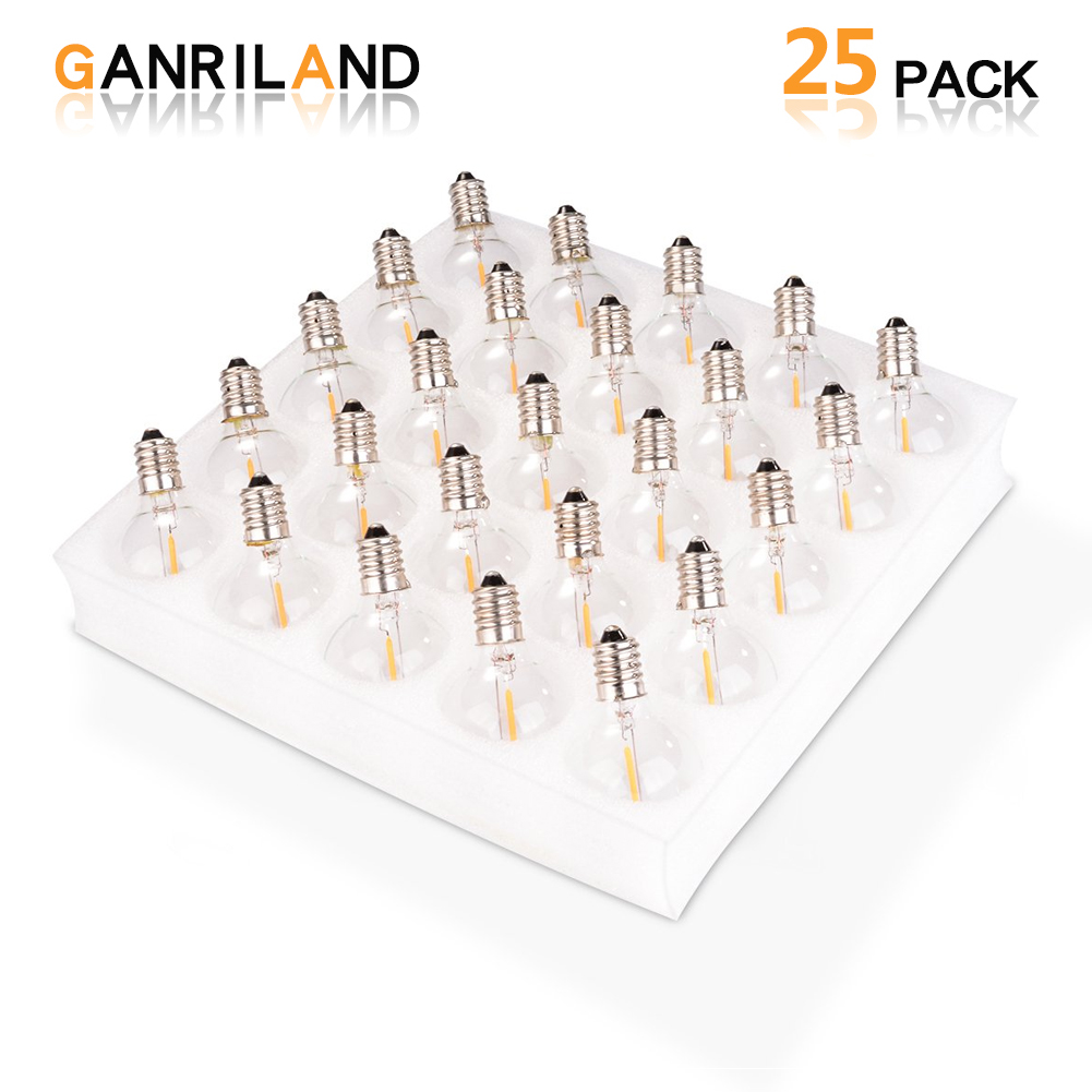 25PCS G40 1Watt LED String Lights Replacement Bulb E12 220V 110V Warm White 2700K LED Light Bulbs Replace 7W Incandescent Bulbs