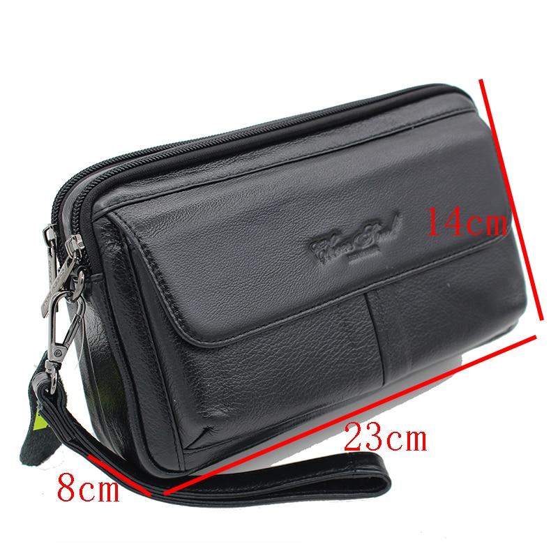 Men Genuine Leather Small Tote Handbag  Organizer Wallet Clutch Wrist Bag Purse