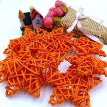 10PCS/Lot 6CM Orange Lovely Rattan Star Sepak Takraw Birthday&Home Wedding Party Decorations DIY Ornaments Ball Kids