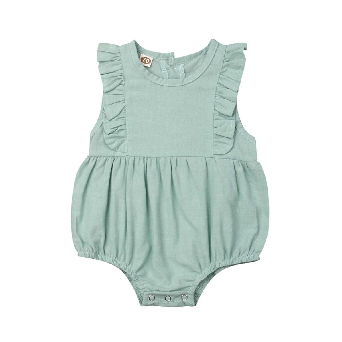 Боди принцессы для новорожденных девочек; одежда с милыми оборками без рукавов; Однотонный хлопковый комбинезон для малышей; комбинезон