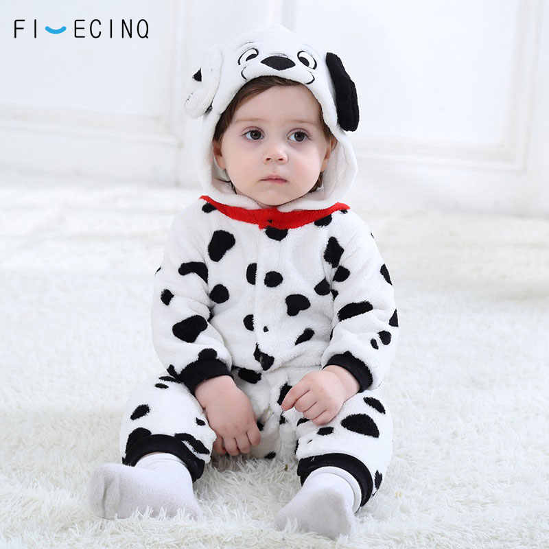 9ddac1d57 Baby Boys Girls Onesie Dalmatians Spotty Dog Cosplay Costume Flannel Warm  Black White Cute Animal Kigurumi